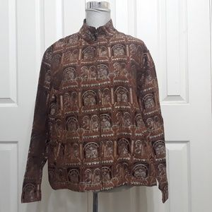 Chico's 2 L brown architectural silk blend jacket
